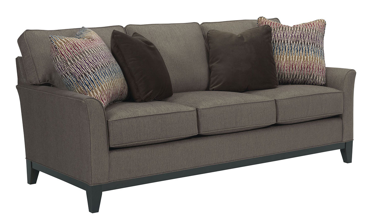 Broyhill Flare arm sofa comes handmade in durable hardwood frame with comfy wrapped coil seating & 4 decorative toss pillows in a modern gray upholstery.