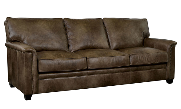 Broyhill Warren Top-Grain Leather Sofa with Nail Head Trim