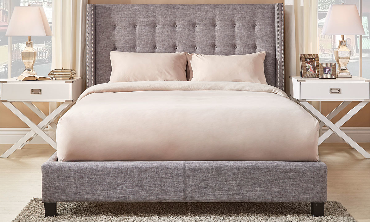 Madison Light Gray Upholstered Wingback King Platform Bed The Dump Luxe Furniture Outlet