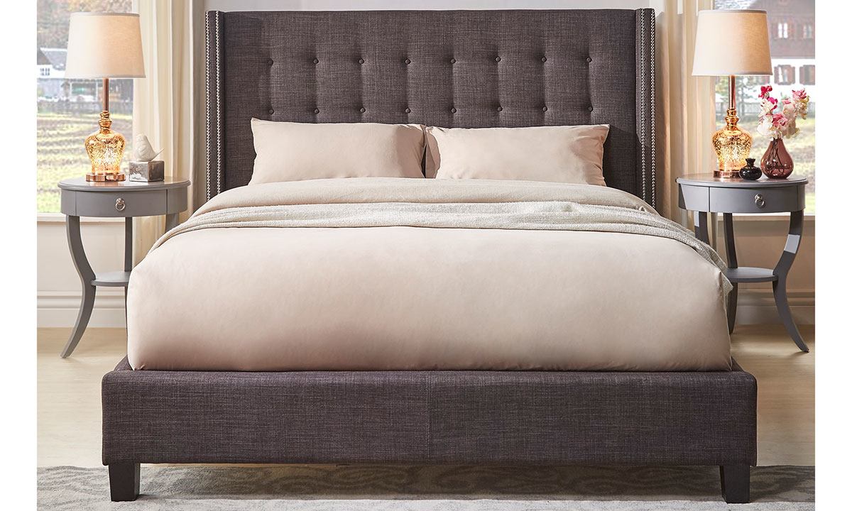 Madison Dark Gray Upholstered Wingback Queen Platform Bed The Dump Luxe Furniture Outlet
