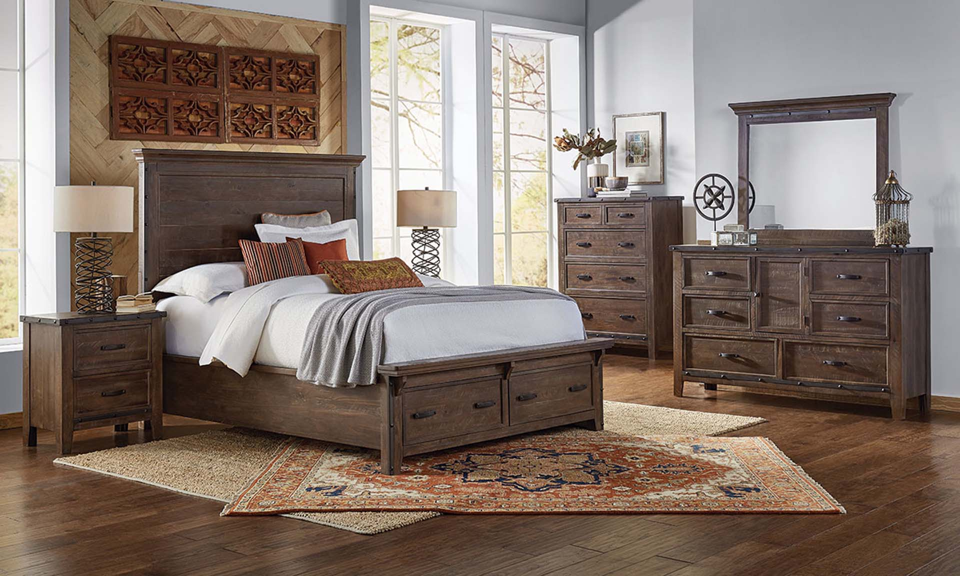 A-America Marquez Solid Pine Queen Bedroom Set with storage bed and 6 drawer dresser with mirror in rustic brown finish