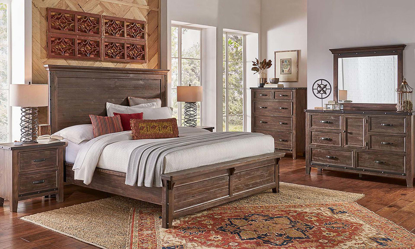 A-America Marquez Solid Pine Queen Bedroom Set with panel bed and 6 drawer dresser with mirror in rustic brown finish.