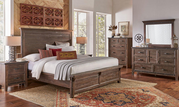 A-America Marquez Rustic Solid Pine King Panel Bedroom