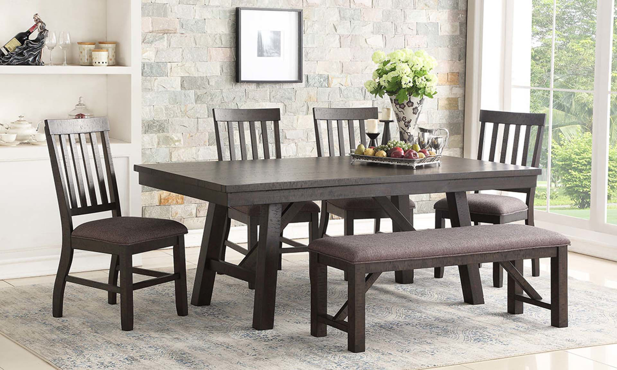 Casual 5-piece dining with 78-inch farmhouse trestle table and 4 slat back side chairs
