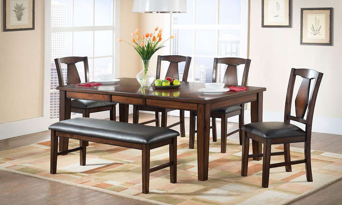 Casual 6-piece dining includes 78-inch table in espresso brown, 4 chair and bench with black faux leather cushions