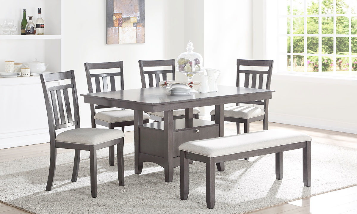Urban Styles Miami 6-Piece Storage Dining Set with 60-inch Adjustable Height Storage Table, 4 Slat Back Chairs and Bench in Espresso Brown Finish