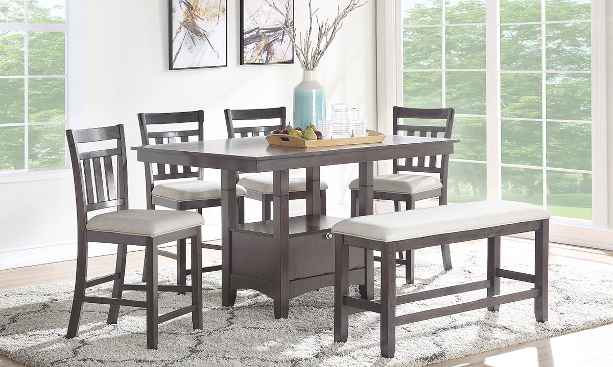 Urban Styles Miami 6-Piece Storage Dining Set with 60-inch Counter Height Table, 4 Slat Back Chairs and Bench in Espresso Brown Finish