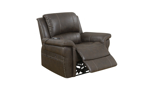 Power recliner with USB & heated massage in stain-resistant brown upholstery - Open Recline