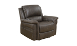 Power recliner with USB & heated massage in stain-resistant brown upholstery - Closed