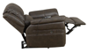 Power recliner with USB & heated massage in stain-resistant brown upholstery - Full Recline Side View