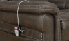 Power recliner with USB & heated massage in stain-resistant brown upholstery - Closeup shot of remove and USB Charging port