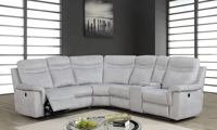 Shino  Sectional Sofa featuring Power Recline, Storage Console, Cup Holders and USB Charging in Gray Fabric in Living Room
