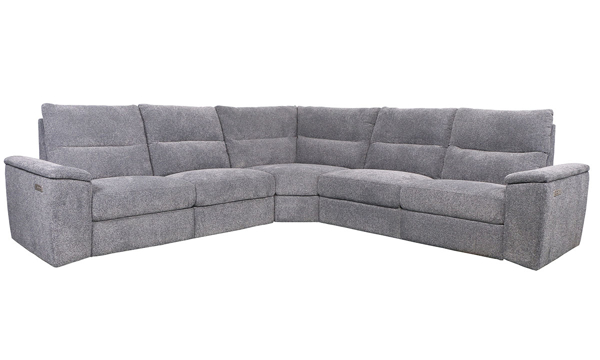 Contemporary Dual Power Reclining Sectional Sofa with USB in Granite Gray Fabric