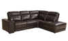 Era Nouveau Saddle Power Reclining Chaise Sectional Sofa in Brown Top-Grain Leather