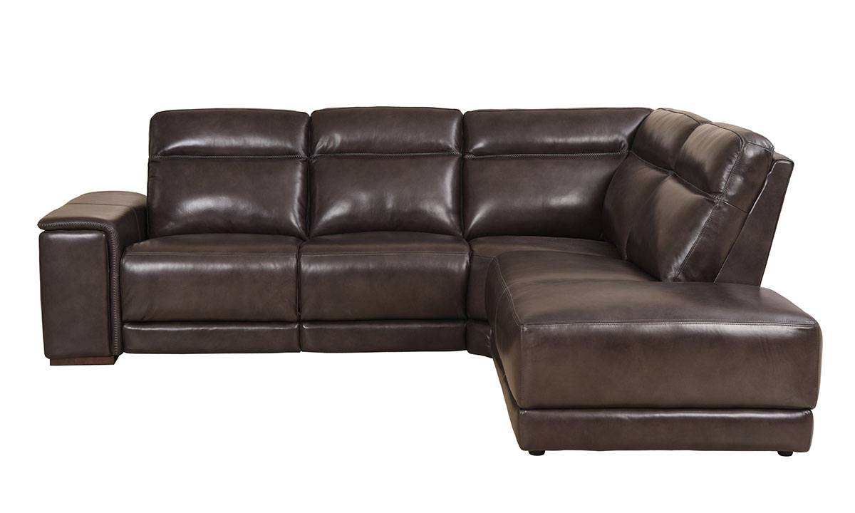 Era Nouveau Saddle Power Reclining Chaise Sectional Sofa in Brown Top-Grain Leather- Side View