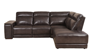 Era Nouveau Saddle Power Reclining Chaise Sectional Sofa in Brown Top-Grain Leather	- Side View
