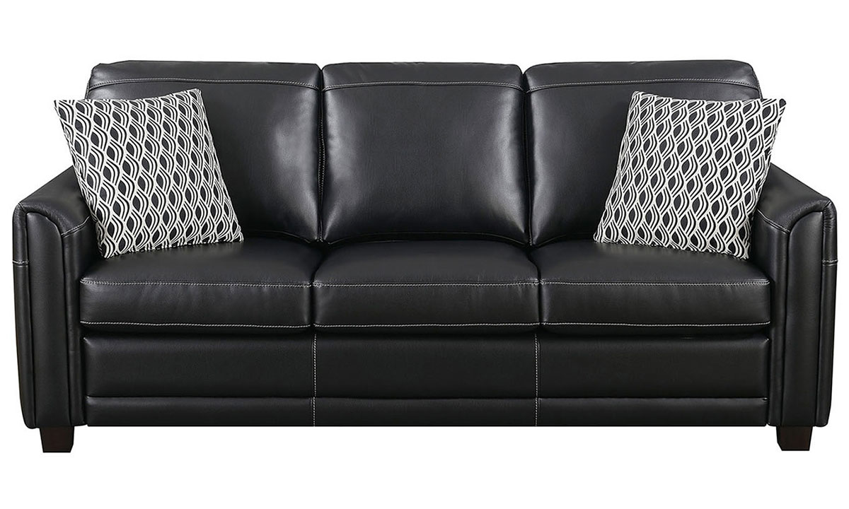 Jennifer Furniture Top Grain Leather Flare Arm Sofa The