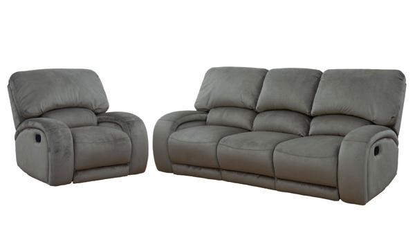 Arabella Mocha 2-Piece Living Room Set with Dual Reclining 90-Inch Sofa and Recliner Chair in Mocha Microfiber Upholstery