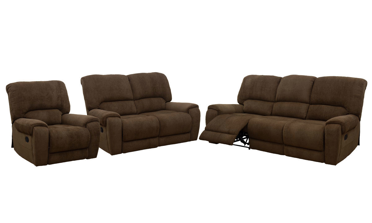 Collindale Earth 3-Piece Reclining Living Room Set with Sofa, Loveseat and Chair in Brown Fabric