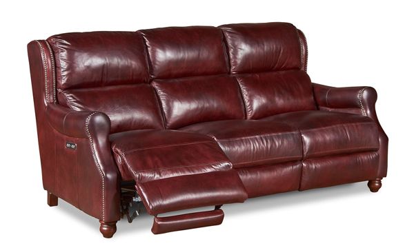 Era Nouveau Top-Grain Leather Traditional Sofa with Power Recline and Headrests in Walnut Brown