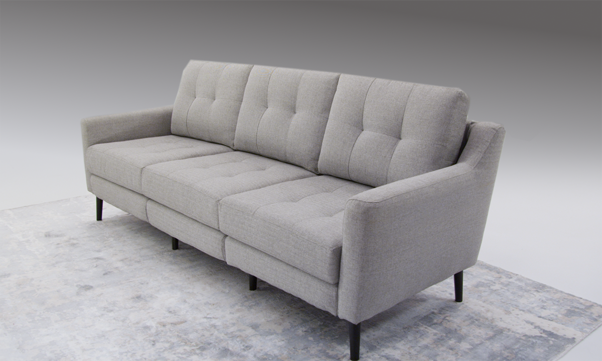 Rio Gray Modular Mid-Century Modern Sofa with USB