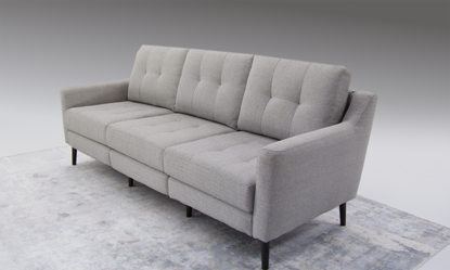 Rio Mid-Century Modern Sofa with USB Charging in Gray Stain-Resistant Fabric