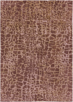 Trendy hand-tufted area rug from India with brown and tan textured pattern
