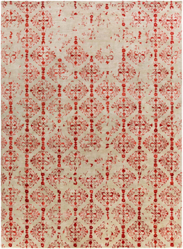 Trendy and timeless hand tufted 2.6 x 8 runner from India with hints of red from the Banshee Collection.