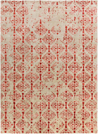 Hand-tufted beige rug from India with red twist pattern