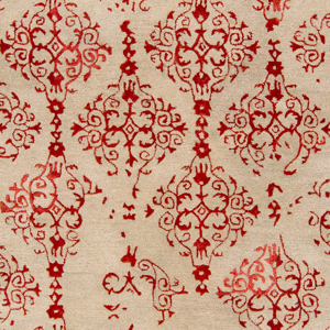 Hand-tufted beige 8' x 11' rug from India with red twist pattern - Detailed pattern