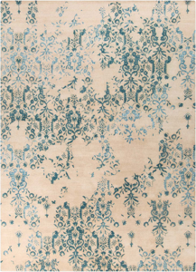 Trendy hand-tufted area rug from India with hints of blue and white from the Surya Banshee collection.