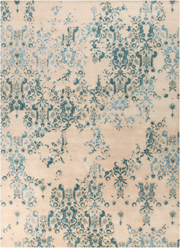 Trendy hand-tufted 8x11 area rug from India with hints of blue and white from the Surya Banshee collection.