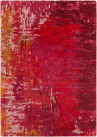 Contemporary hand-tufted area rug from India with splashes of red, pink and mustard
