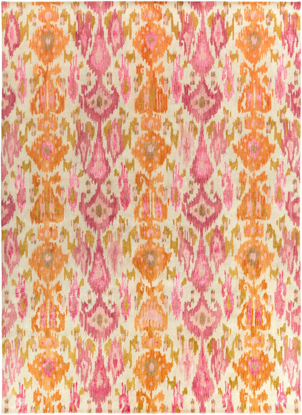 Contemporary hand-tufted area rug from India with bright yellow and pink pattern