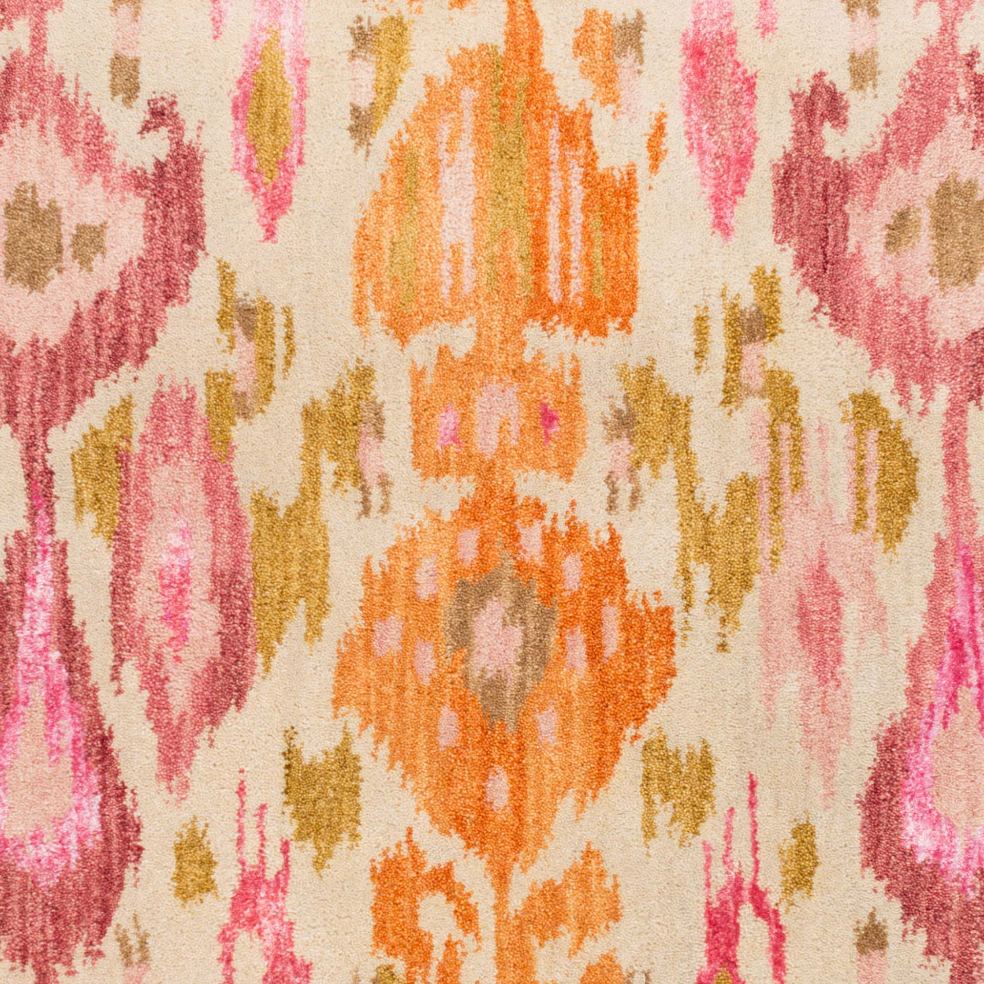 Contemporary hand-tufted area rug from India with bright yellow and pink pattern - Pattern Detail