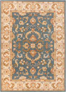 Classic hand-tufted area rug from India with cream, blue and red accents.