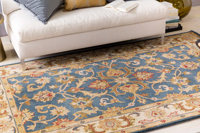 Classic hand-tufted area rug from India with cream, blue and red accents - Floor Shot