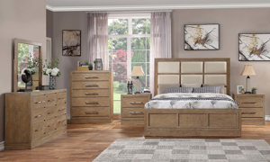 Queen bedroom set with upholstered linen panel bed and 9-drawer triple dresser with mirror in mocha brown pine.