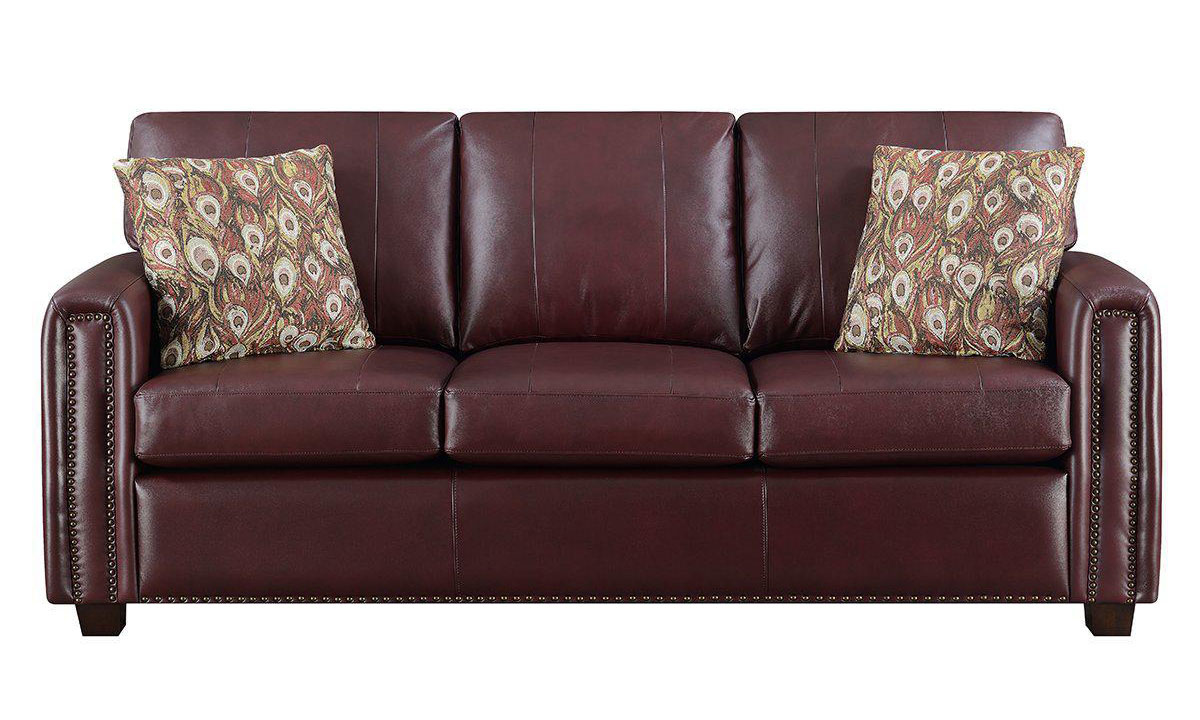 Track Arm Sofa in Burgundy Top-Grain Leather with Nailhead Trim and Toss Pillows