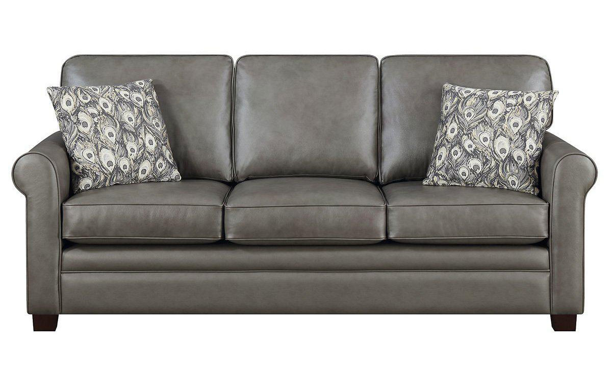 Top Grain Leather Roll Arm Sofa