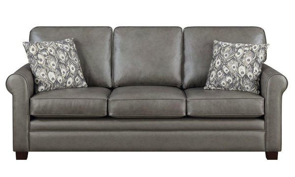 Jennifer Furniture Contemporary Roll Arm Sofa in Gray Top-Grain Leather