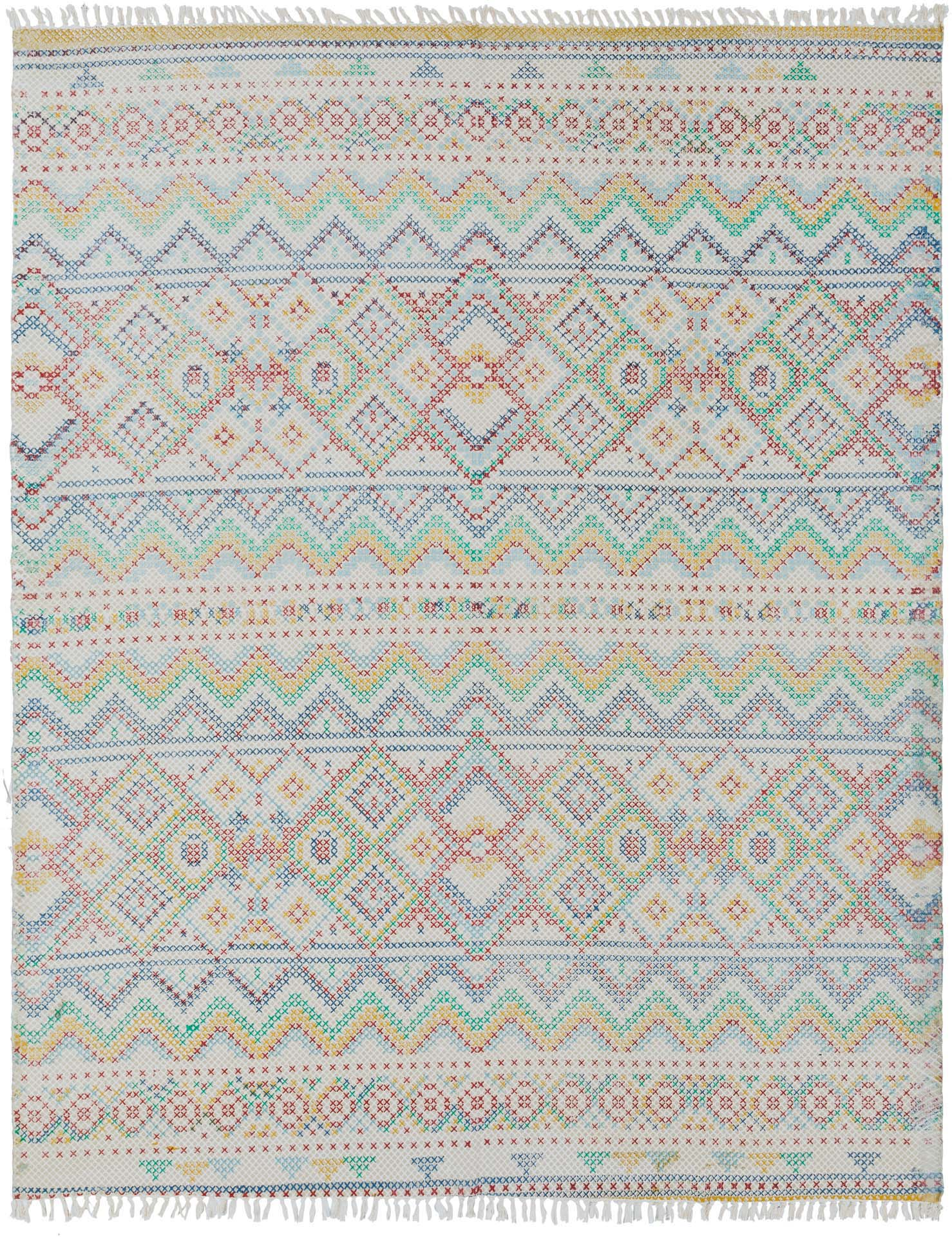 Hand woven area rug from India in pastel blue, pink and green with fringe