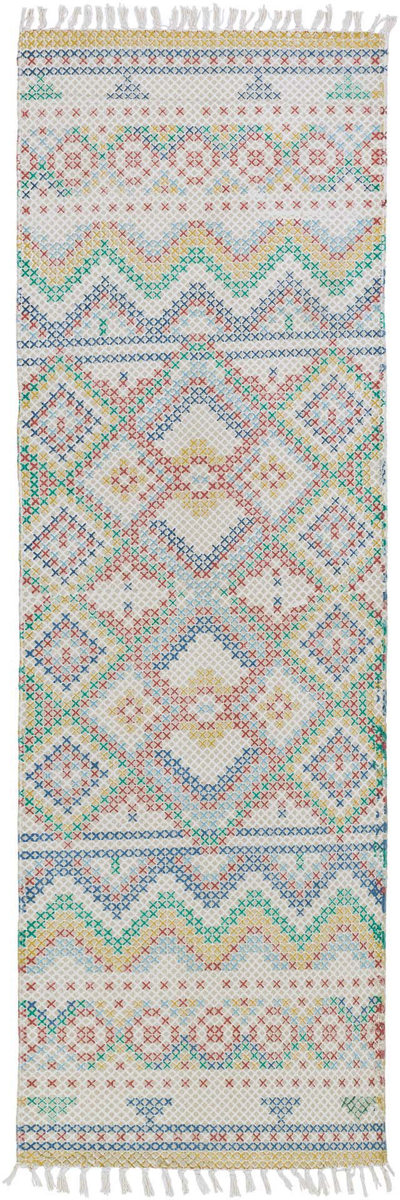 Hand woven 2.6' x 8' runner from India in pastel blue, pink and green with fringe on wood floor