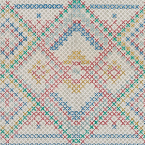 Hand woven area rug from India in pastel blue, pink and green with fringe - Detail Pattern