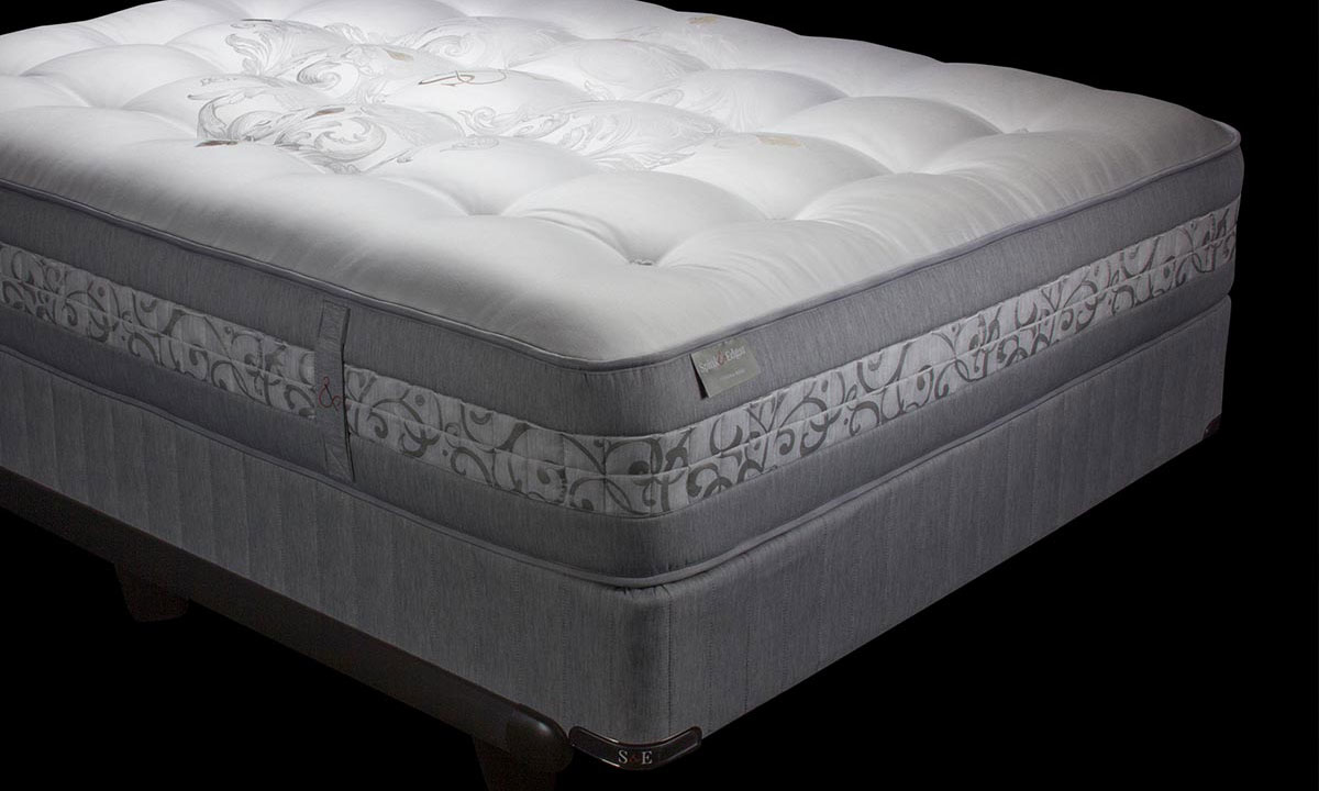 "Luxury 13"" queen mattress handcrafted in England from Angora wool with over 9000 coils - Silhouette shot"