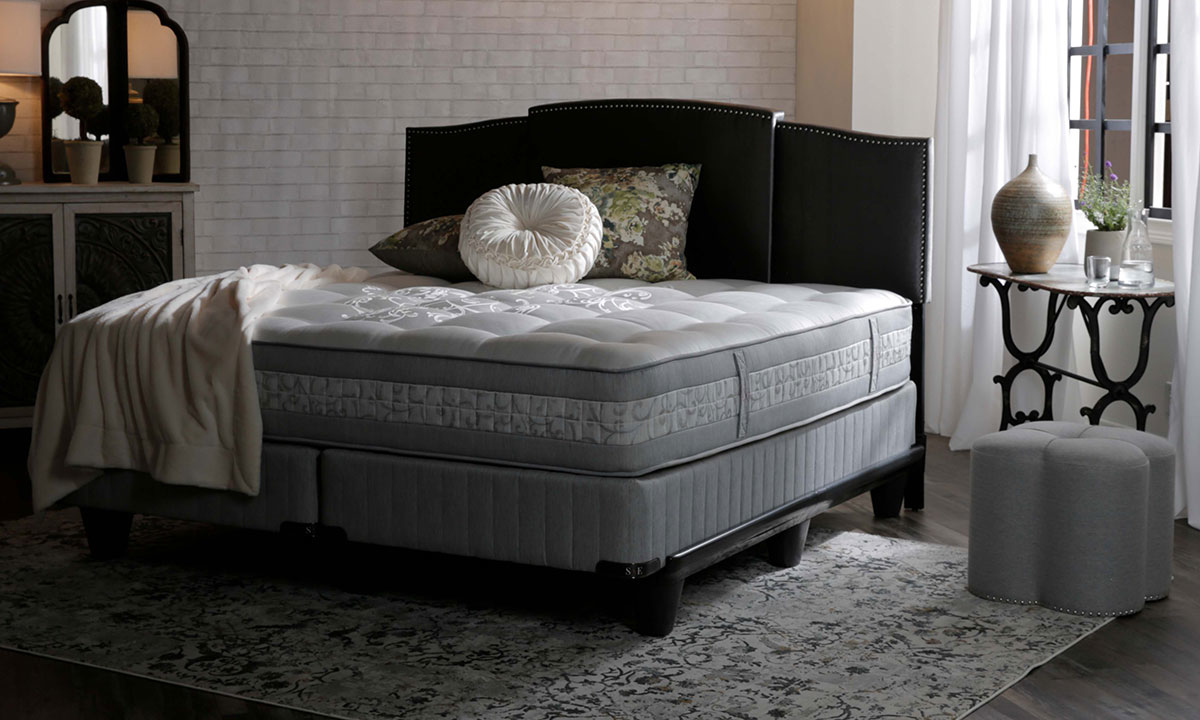 """Luxury 14"""" queen mattress handcrafted in England from cashmere with over 17000 coils in bedroom"""