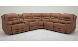 Six-piece power sectional with 3 recliners, storage, headrests and USB Charging in Brown Upholstery - Front View