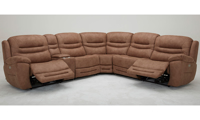 Six-piece power sectional with 3 recliners, storage, headrests and USB Charging in Brown Upholstery - Recliners Open