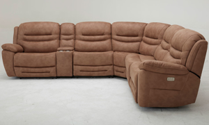 Six-piece power sectional with 3 recliners, storage, headrests and USB Charging in Brown Upholstery - Side View