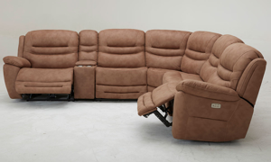 Six-piece power sectional with 3 recliners, storage, headrests and USB Charging in Brown Upholstery - Side View with Open Recliner